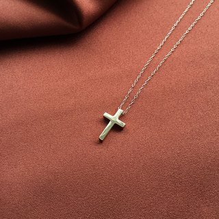Cross and necklace glossy 925 sterling silver rose gold [SZN1701]