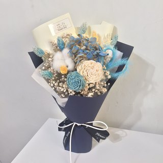 / Dry Flower / Contrast Love Heart Bouquet - Blue