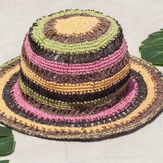 Chinese Valentine's Day gift limited to a national wind stitching hand-woven cotton hat / fisherman hat / sun visor / patch hat / handmade hat / hand crocheted hat / hand-woven / gentleman hat-Strawberry mango macarons striped hollow