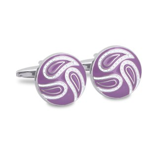 Round Purple Paisley Cufflinks