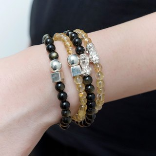 Lucky bracelet VISHI original design natural blonde crystal rock s999 foot silver emperor