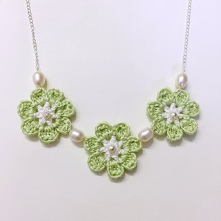 After the rain the grass for the knitting flowers pearl necklace fresh green