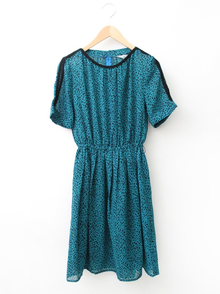 [RE0503D1131] made in Japan Showa Retro wind spring and summer short-sleeved blue-green vintage dress - Special