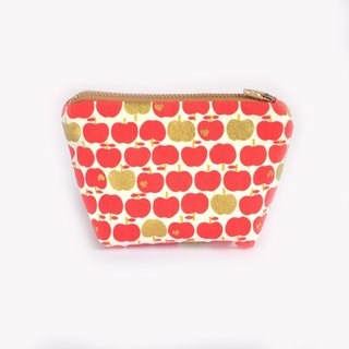 Red Apple Zipper Pouch • Coin Purse, Change Purse, Small Zip Pouch, Cute, Gold Metallic,