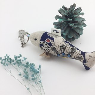 Fat fish fish charm / key ring - love beauty bow