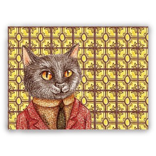 Hand-painted illustration universal card / postcards / cards / illustration card - retro tiles 01 + red suit black cat