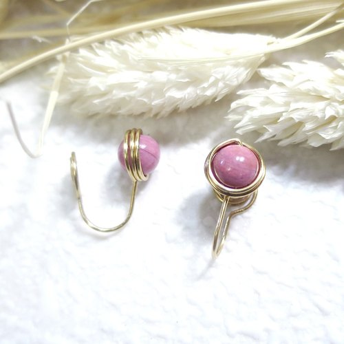 ♦ ViiArt ♦ Relaxed - Rose Cushion ♦ Minimalist Rose Rose Stone Brass Natural Stone Ear Earrings Customized