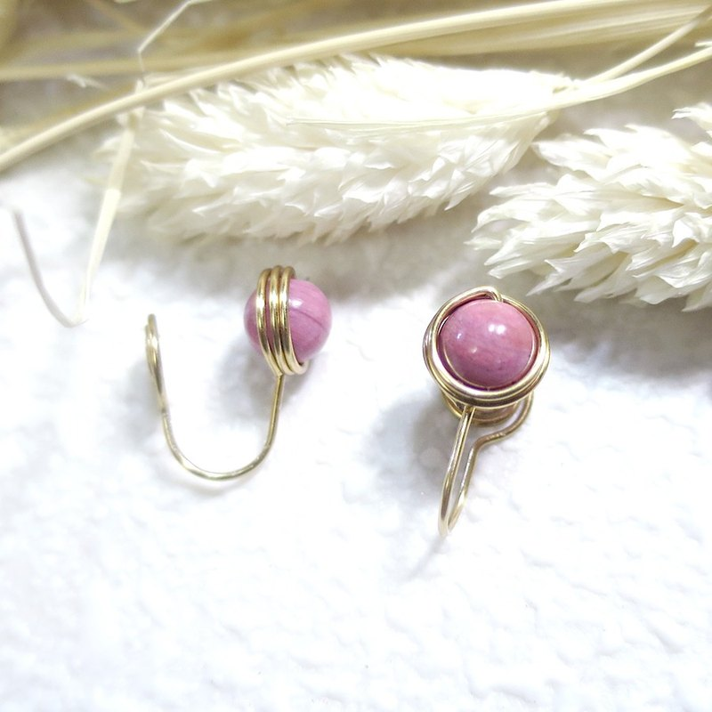 VIIART. Relax - Rose Stone. Minimalist Rose Rose Stone Brass Natural Stone Ear Clip Earrings