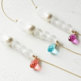 Of snow color pearl tears Swarovski necklace