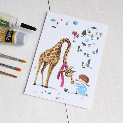 Giraffe's story Postcard I Lena & Animal Friends