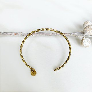 Distressed brass twist bracelet