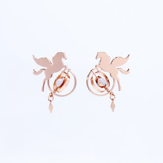 Illusions Pegasus Pegasus Planet Earrings / Rose Gold & Silver