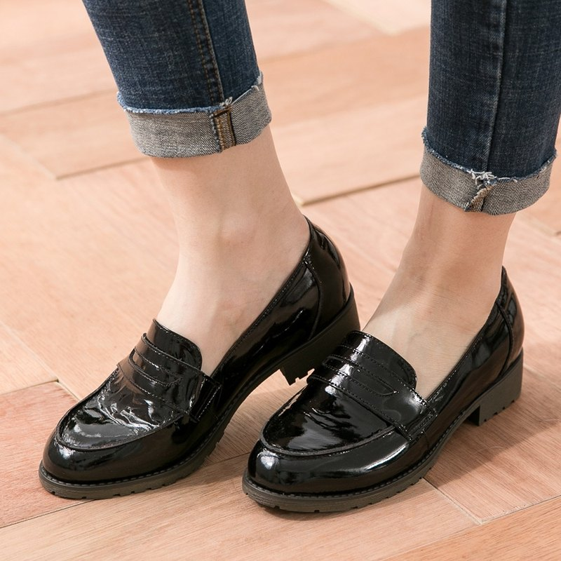 Maffeo Carrefour shoes Oxford shoes Chic Chic Cat leather imported Carrefour shoes (0102 mystery black)