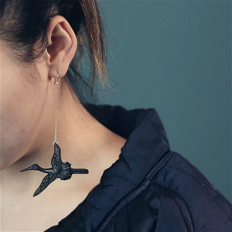 Ruihe Xianxiang | Crane style antique wooden asymmetrical earrings purple sandalwood ear hook earrings 925 pure silver ear hook pure copper accessories girlfriends small things birthday gift hand made new Chinese rosewood boxwood carving jewelry | Ye Luo o