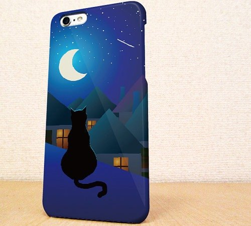 送料無料☆iPhone case GALAXY case ☆月と猫 phone case