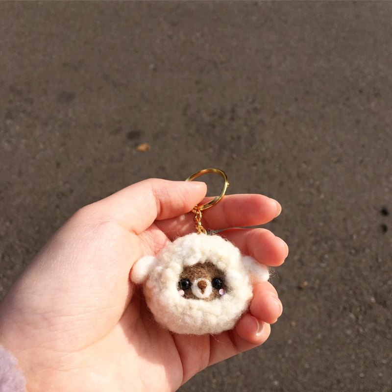 Wool felt dressed as sheep's bear key ring bag ornaments ornaments