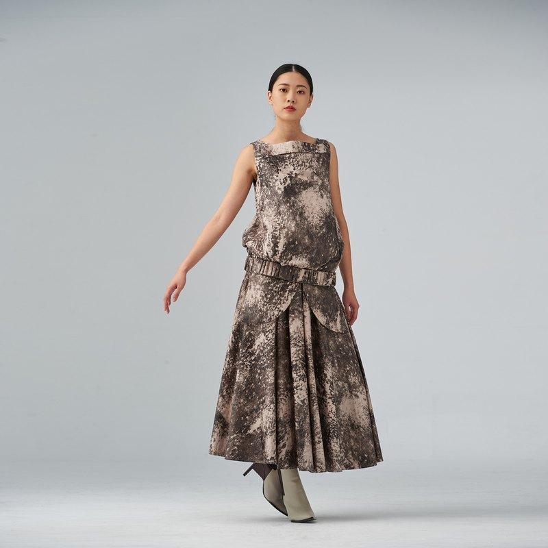印花可拆造型長裙