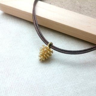 Wax line necklace brass pine acorn acorn real plain simple wax rope thin line