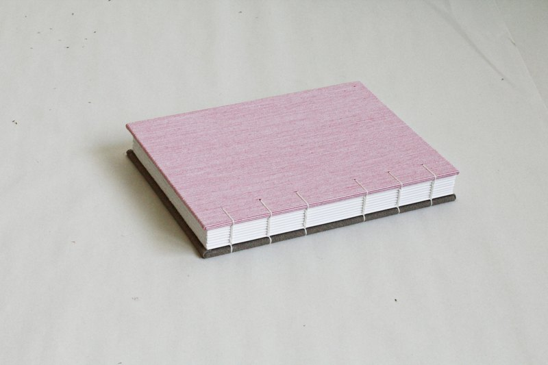 Hardcover Notebook in Pink and Dirt Cloth- Coptic Bound (Two-Needle)