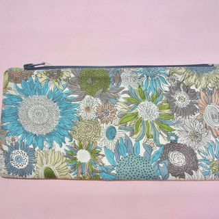 Pencil case / organisation pouch with blue floral print