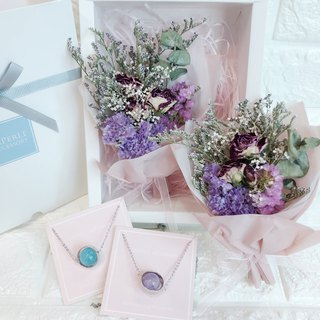 Goody Bags Dry Flower Box Sets  Purple Crystal Aquamarine Necklace Birthday