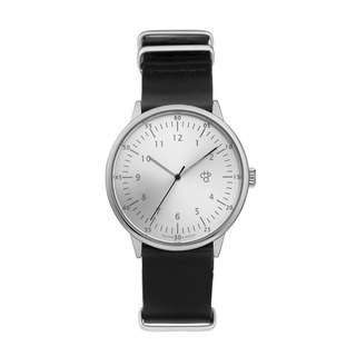 Chop Brand Swedish brand - Harold collection silver dial black military leather watch