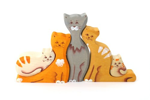 Russian Building Blocks - Beech Fairy - Family Series: Color Cat Family - Father's Day Gifts