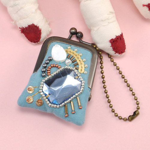 tiny purse for rings and pill,coins,accessories,bag charm purse blue purse 23