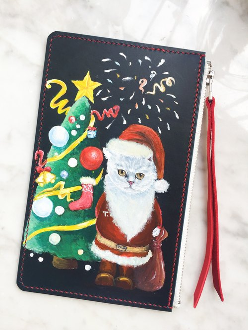 Hand-painted Christmas Cat Coin Purse / Phone Bag / Wallet / Clutch