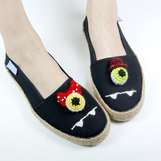 Black cotton hand made canvas shoes eyeball Mr. Miss models have a woven section