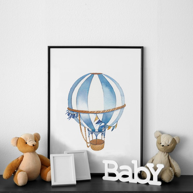 Childlike hot air balloon I-Watercolor Clipart, Kids Clipart, Nursery Decor