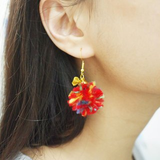Colourful Fluffy Ball Earrings