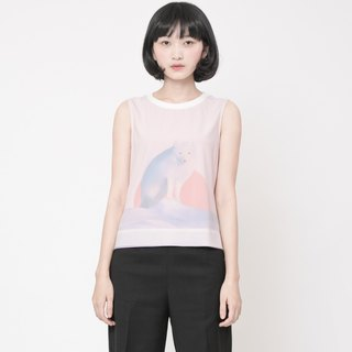 Fox Print Vest Arctic Fox Printed Tank Top