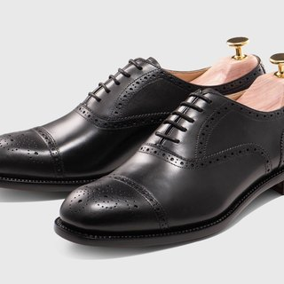 Black semi-carved Oxford shoes Goodyear stitch hand-made