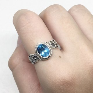 Blue Topaz 925 Sterling Silver Heavy Arms Rings Nepal Handmade Mosaic (Style 4)