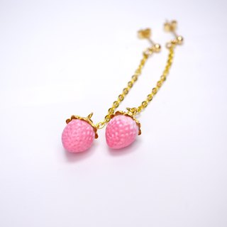 "*Playful Design"" Polymer Clay Strawberry Drop Earrings"