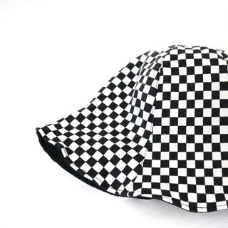 Spot - only one black and white plaid handmade double-sided hat fisherman hat