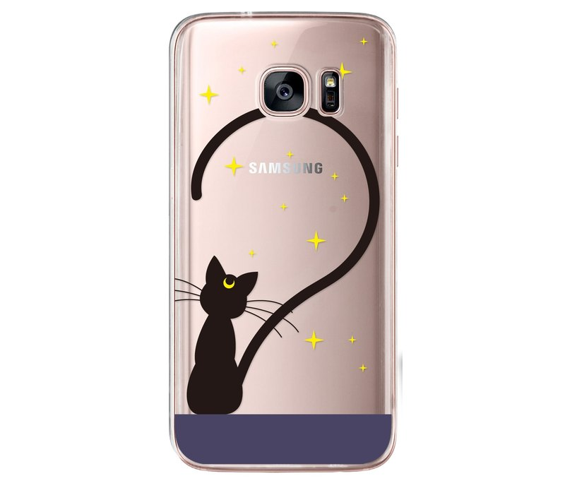 Transparent cute black cat iPhone X 8 7 6s Plus 5s Samsung S7 S8 S9 phone case