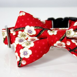 Japanese pattern plum bow tie small dog collar silver