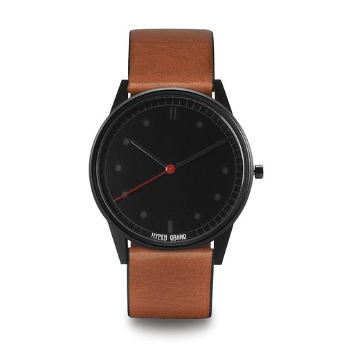 HYPERGRAND - 01 Basic Series - Black Dial Honey Leather Watch