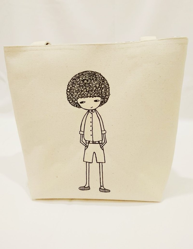 Cotton linen bag handbag clutch shoulder bag Q hair boy