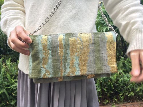 Gold Green | Abstract Art Clutch
