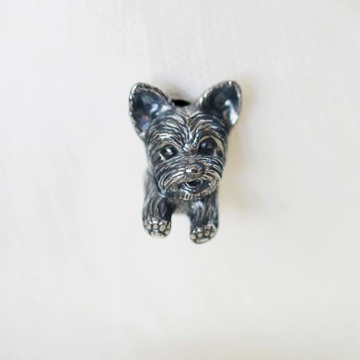 Yorkshire terrier dog pin brooch