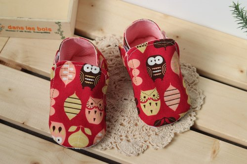 Owl - red toddler shoes