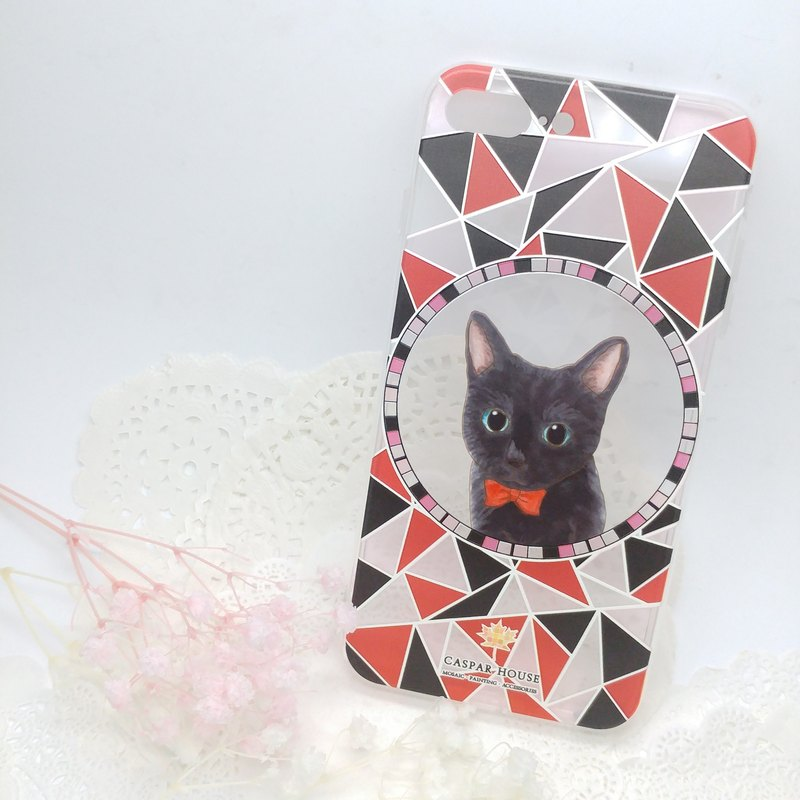 Mosaic Animal phone case - Black cat