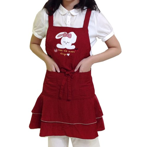 【BEAR BOY】 Mercerized cotton 3-pocket apron - Apple rabbit apron - red