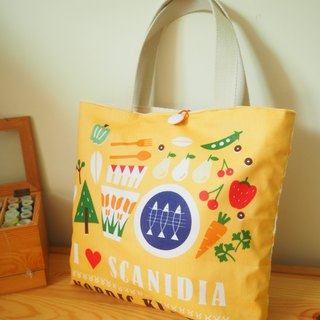 Handmade canvas bag tote bag colorful vegetable pattern