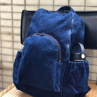 Blue dyed cloth modified backpack