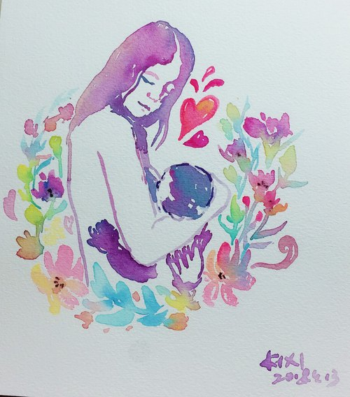 Mother and Child    Watercolor Painting    Original Painting