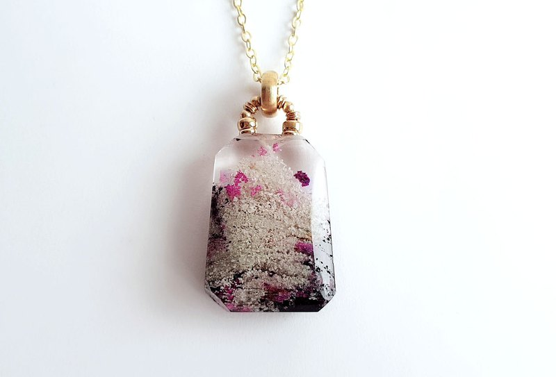 Gemstone. Tianshan. Natural ore, purple and ghost crystal, brass. Necklace
